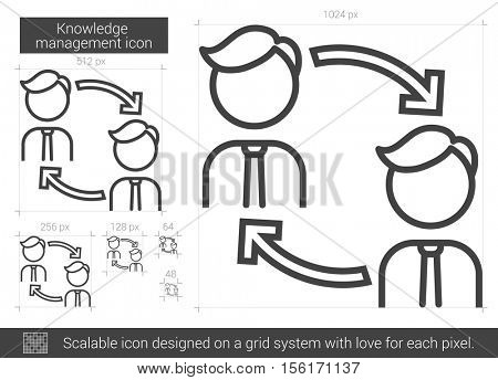 Knowledge managment vector line icon isolated on white background. Knowledge managment line icon for infographic, website or app. Scalable icon designed on a grid system.