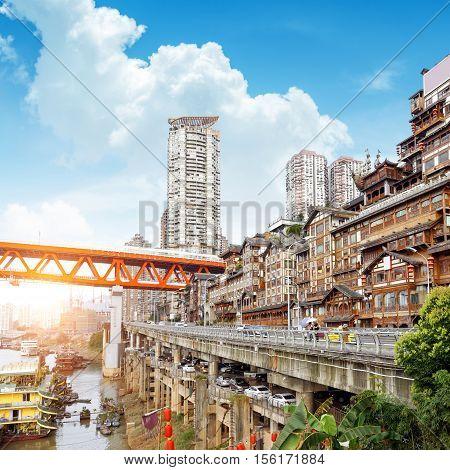 Mountain City Chongqing Chinese classical architecture: Hong Yadong.