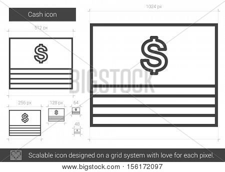 Cash vector line icon isolated on white background. Cash line icon for infographic, website or app. Scalable icon designed on a grid system.