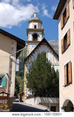 The church of Bel Taimpel (very nice temple) in Celerina or Schlarigna small village in Engadine Switzerland Europe