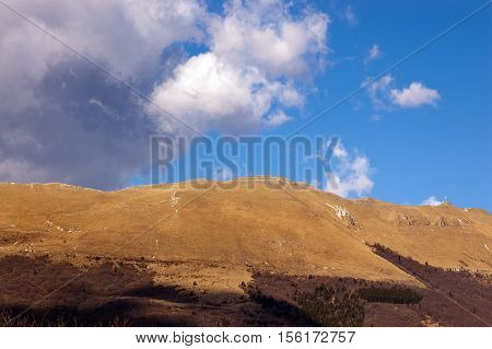 Monte Baldo in autumn (Baldo Mountain) 2218 m. Italian Alps. Watershed between the Val d'adige and Lake Garda