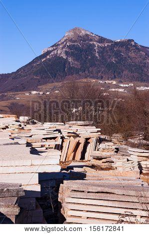 Quarry of Lessinia Stone or Prun stone layered marly limestone slabs. Plateau of the Lessinia Verona Veneto Italy