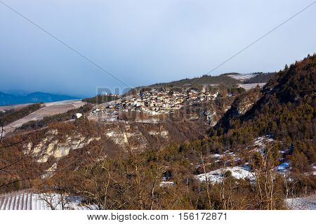 Small villages in Val di Non or Valle di Non (Non Valley) in Trentino Alto Adige in winter with snow. Northern Italy Europe