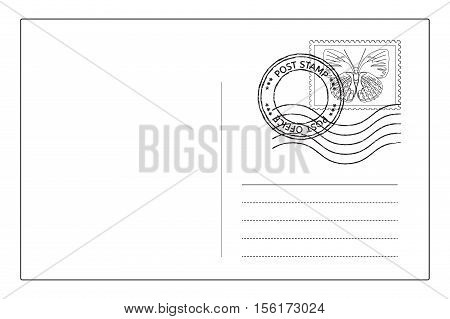 Postcard reverse side with postal stamps. Vector illustration isolated on white background