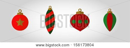 Christmas bauble Icon Set 2. Swatches included with vector. Flat xmas ball design with half in shadow, gives the illusion of a fold or corner. Great for decoration for gift tags etc.