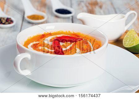 Thai Pumpkin Soup Puree In White Cup