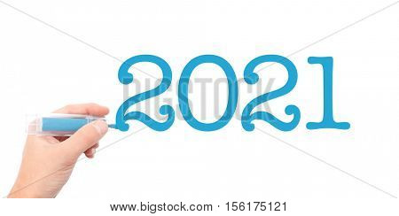 The year of 2021written with a marker