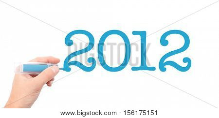 The year of 2012written with a marker