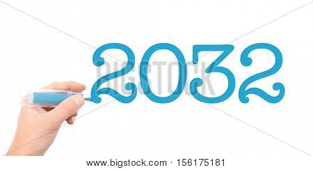 The year of 2032written with a marker
