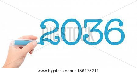 The year of 2036written with a marker