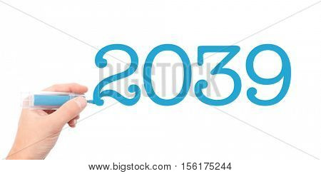 The year of 2039written with a marker