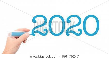 The year of 2020written with a marker
