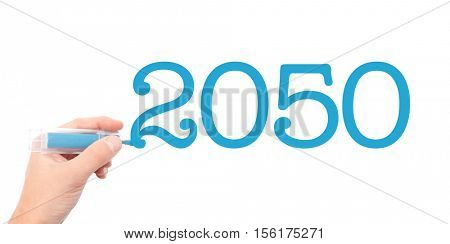 The year of 2050written with a marker