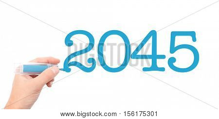 The year of 2045written with a marker