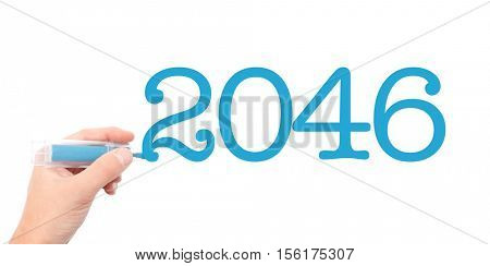 The year of 2046written with a marker