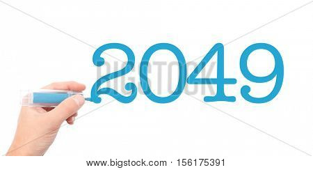 The year of 2049written with a marker