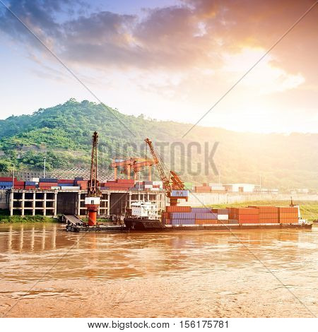 China Yangtze River Three Gorges container terminals and barges.