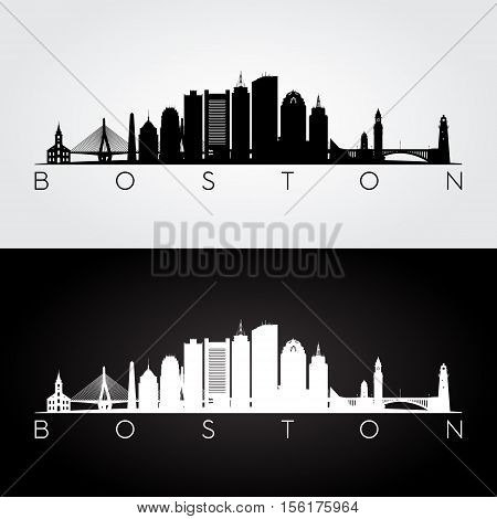 Boston USA skyline and landmarks silhouette black and white design vector illustration.