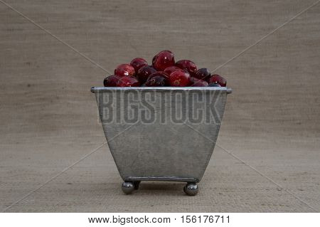 Close up of a fresh red and maroon cranberries heaped in a footed tin container and  photographed against an ecru background with shallow depth of field and fill flash.