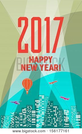 Colorful New Year's Eve card retro cartoon style New Year greetings card illustration. With design elements. New 2017 year greeting card for flyer, wallpaper, magazine, wallpaper, booklets, book cover