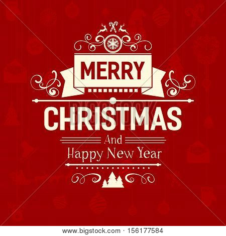 Premium Vintage retro flat style trendy Merry Christmas card and New Year wish greeting. Vector illustration with pale white inscription on dark red carmine background for wallpaper, magazine