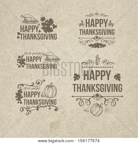 Happy Thanksgiving Day Design Badges Collection - Set of five retro vintage style Thanksgiving badges cards on dark grange background with decor elements, turkey, pumpkin, fruit, swirls
