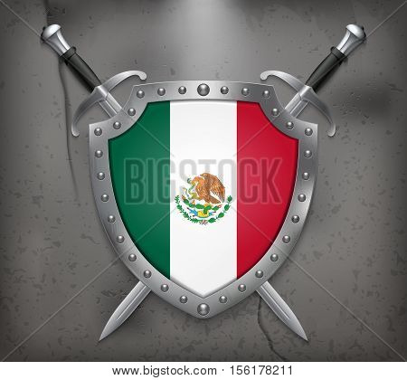 Flag Of Mexico. Vector Medieval Background