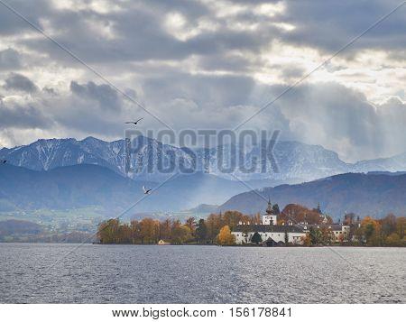Sun Rays Over Schloss Orth In Gmunden