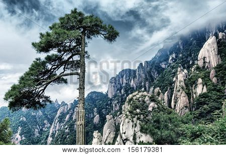 The famous Huangshan landscape one of the tourist destinations.