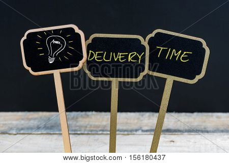 Concept Message Delivery Time And Light Bulb As Symbol For Idea