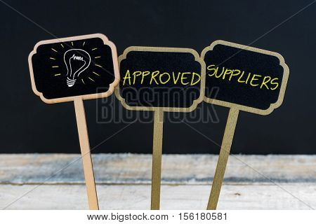 Concept Message Approved Suppliers And Light Bulb As Symbol For Idea