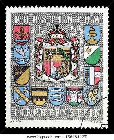 LIECHTENSTEIN - CIRCA 1973 : Cancelled postage stamp printed by Liechtenstein, that shows Coat of arms.