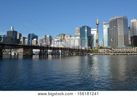 Cityscape Of Darling Harbour At Sunset Sydney New South Wales Australia