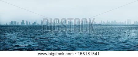Skyline Dubai from boat Dubai - the fastest growing city in the world