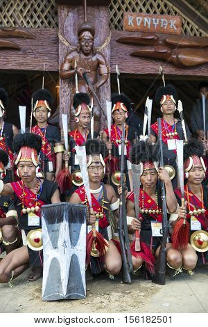 KOHIMA, NAGALAND/INDIA - DECEMBER 1, 2013: Tribes of Nagaland attend the annual Hornbill festival where they perform their traditional cultural dances. The Hornbill is also known as the Festival of Festivals'.