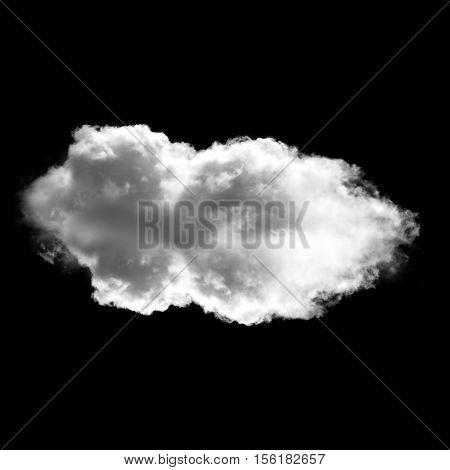 Single white cloud flying over black background 3D rendering illustration
