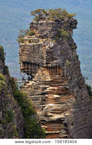 Aerial View Of People Visiting At The Three Sisters Rock Formation In The Blue Mountains Of New Sout