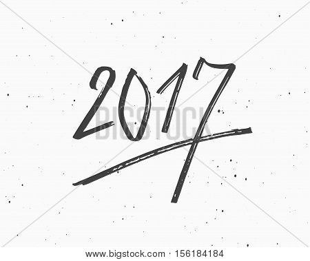 Hand Drawn Marker Lettering, Vector Greeting Card With Chinese Calligraphy for 2017 Happy New Year of the Rooster.