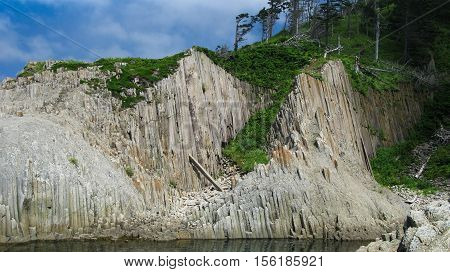 Pillar Rocks of Stolbchatiy cape in Kunashir Kuril islands Russia poster