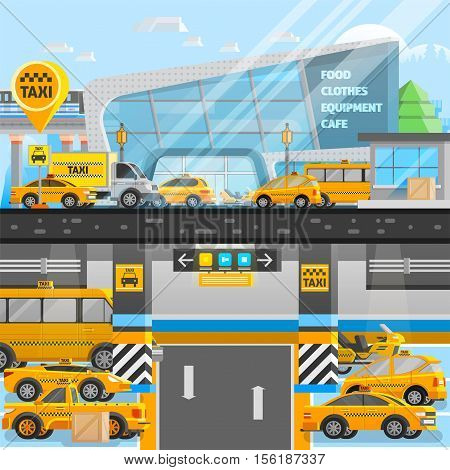 Taxi cars composition with vehicles on underground and land parking in flat style vector illustration