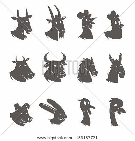 Farm male and animals heads black icons set with rooster hen mare stallion abstract isolated vector illustration