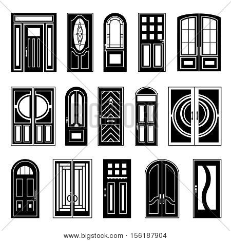 Design collection of black silhouettes front and interior doors on white background for retail sale and online shopping isolated vector illustration