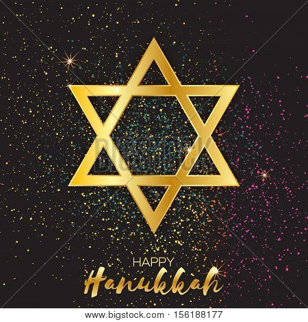 Origami golden Star of David. Happy Hanukkah. Shining papercraft metal foil stars. Greeting card for the Jewish holiday on black background with colorful confetti. Vector illustration.