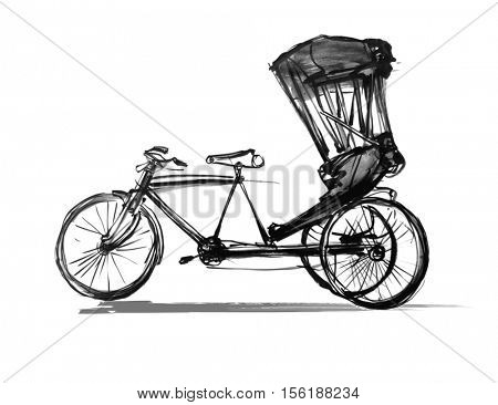 Indian rickshaw cycle - vector illustration