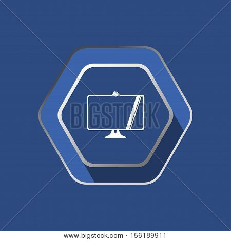 Vector flat icon of white computer monitor silhouette with webcam on the hexagon dark blue background.