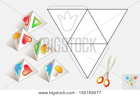 Logic puzzle. Draw the relevant images on the pattern, color and make by pyramid. Vector image.