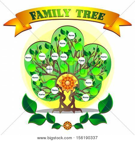 Vector graphics of the family tree.  Beautiful design