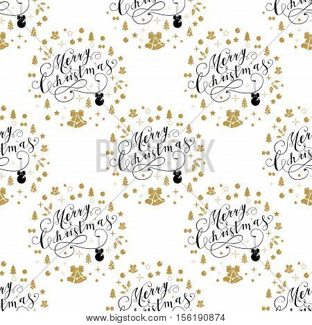 Christmas seamless pattern with holly, lettering Merry Christmas. Vector illustration. Template for Greeting Scrapbooking, Congratulations, Invitations.