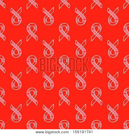 World AIDS Day, 1st December, vector seamless pattern. Red ribons, hand drawn design element