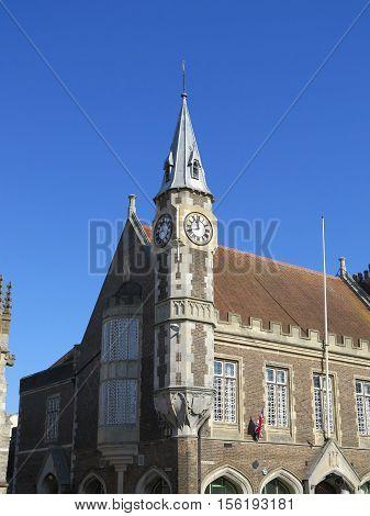 Corner Clock Tower on Dorchester Corn Exchange